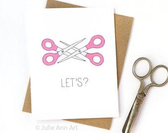 Lesbian Valentines Day Card - Lesbian Love Card - Scissor