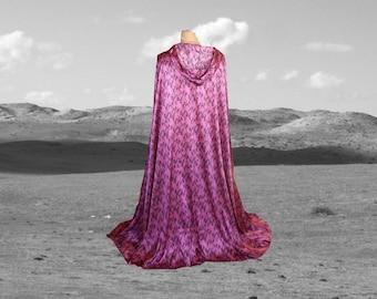 Pink Cloak Cape Snakeskin Renaissance Prom Halloween Costume