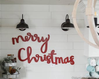 Merry Christmas Typography Word Cutout | MDF word sign | Typography | Start at Home Decor