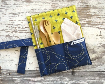 Travel Cutlery kit, on the go kit, zero waste kit, lunch time kit, Navy and yellow airplane travel utensil case,zero waste bamboo silverware