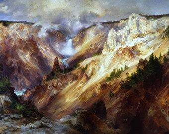 Grand Canyon of the Yellowstone Painting by Thomas Moran Art Reproduction