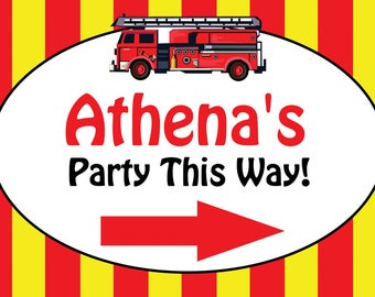 Personalized Fire Truck Yard Sign w/ Ground Stake | Fireman Party | 1st Birthday | Custom Banner | Personalized Banner