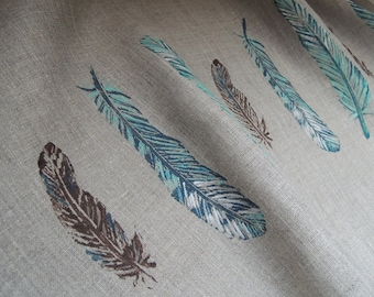 Wild Bird Feathers linen tea towel hand block printed natural history your choice of color natural gray, aquamarine or cream