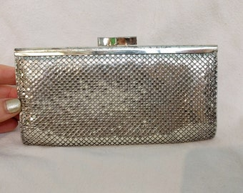 Whiting and Davis Silver Mesh Clutch Purse