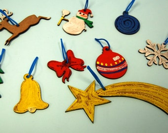 Ornaments for Christmas tree in wood-crafts