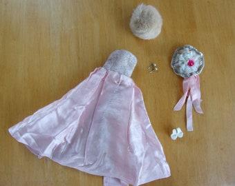vintage barbie gown lot with pearl drop earrings!