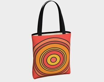 Orange Target Tote Bag, Canvas Tote Bag, Shoulder Bag, Tote with Pockets, Basic Tote Bag, Urban Tote Bag, Fashion Tote Bag