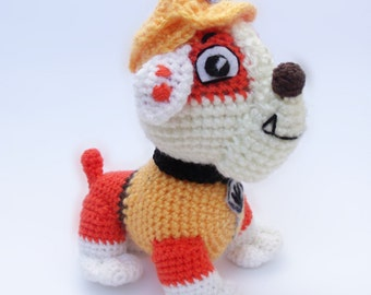 Crochet Paw Patrol Rubble stuffed animal Birthday gift for kid Crochet dog Crochet Bulldog Crochet puppy French bulldog Plush Dog toy animal