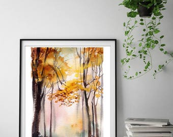 Autumn landscape art print, forest watercolor painting print, trees fine art print, landscape wall art print