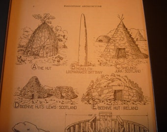 Prehistoric Architecture  - 1924 print - Great for Framing - gift for architect traveler archaeologist Hut Stonehenge Cave Tent Monolith