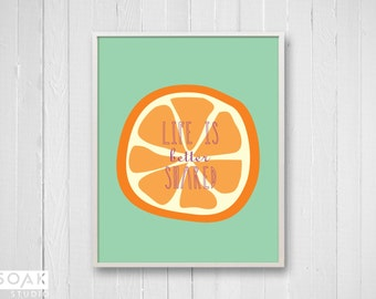 Orange Nursery Art, Tropical Fruit Print with inspirational quote, Citrus Orange and Mint, childrens art, gift for baby, kids room decor