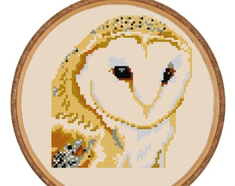 Cross-stitch PDF Pattern Instant Download - Barn Owl