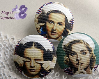 3 fabric buttons, retro women, 0.94 in / 24 mm