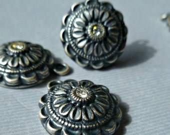 Six Vintage Antique Silver 16mm round Pendant Charm Findings with Rhinestone (8-48-6)