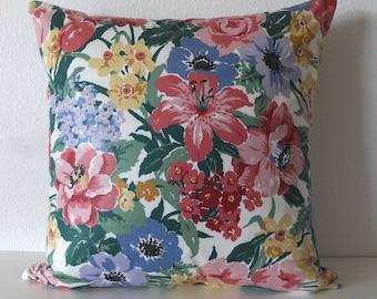 Colorful English Garden Floral Pillow Cover