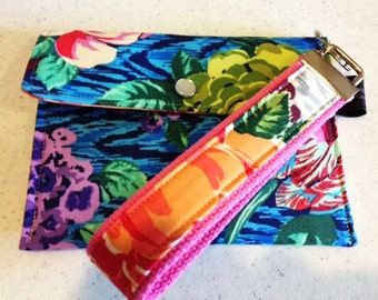 Wallet Credit Card Case Key Fob | Change Coin Purse | Amy Butler Hapi Sapphire