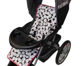 Baseball Stroller Liner-Reversible to Gray Minky
