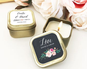 Gold Wedding Favors Custom Candle Wedding Favors Personalized Wedding Favors Bulk Candle Favors for Wedding Guests  (EB3211GDN) 12| pcs
