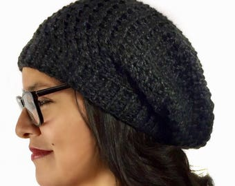 Oversized Slouchy Beanie, Crochet Slouchy hat, Slouchy Beanie, Hat, dark gray Slouchy, charcoal Slouchy, Fall/Winter Fashion Ready To Ship
