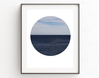 Circle Print, Sea Print, Printable Wall Art, Sea Art Print, Ocean Decor, Ocean Photography, Instant Download Art, Beach House Decor