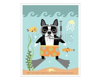 10D Dog Print - Boston Terrier Dog Snorkeling Wall Art - Boston Terrier Print - Dog Wall Art - Boston Terrier Wall Art - Scuba Diving Dog