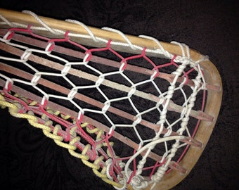 REDUCED FROM 99 to 25  Vintage STX La Crosse Stick, Frame Made In England, 8 Sided Wood Shaft, 43 Inches Long.
