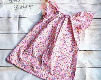 Girls Peasant Style Floral Dress, Girls Summer Dress, Girls Dress