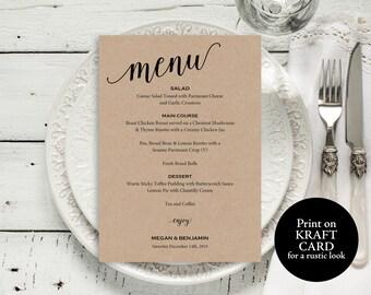 Wedding Menu Template, Wedding Menu Printable, Rustic Menu Card, Menu Template, PDF Instant Download, Dinner Menu, Menu Printable, MM01-2