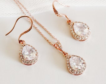 Rose Gold Bridal Jewelry Set Crystal Wedding Jewelry Set Bridesmaid Gift Bridesmaid Jewelry Set Rose Gold Wedding Gifts