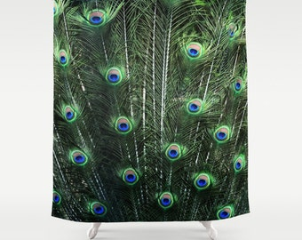 Shower Curtain -  Peacock Feathers  - Nature Photograpy by RDelean Designs