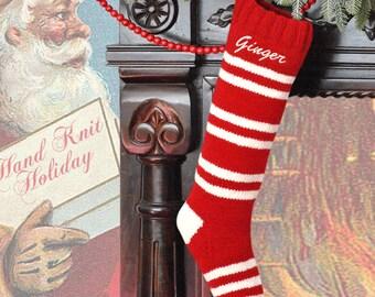 Personalized Christmas Stocking /Red White Striped Hand Knit Christmas Stocking / embroidered Christmas Stocking