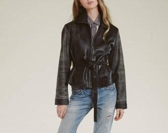90s leather jacket / black distressed / tie waist / zipper front / minimalist harrison bomber