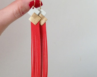 Earrings leather 'fringe' ivory gold orange Andalusian jewelry woman made customizable manually