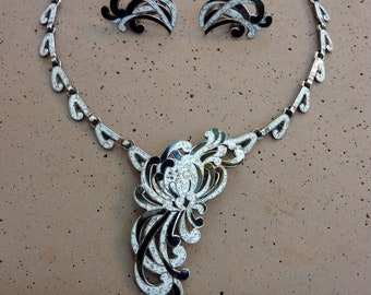 Collectible Vintage Margot de Taxco Sterling Silver Enamel White and Black Necklace Brooch Pin Pendant & Earrings Set