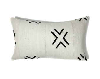 African Mudcloth Pillow Cover, African Pillow, Cream and Black | Keli