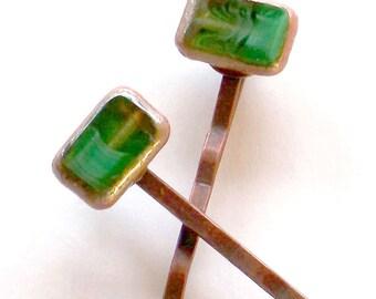 Copper & Green Boho Hair Pins , Boho Hair Jewelry