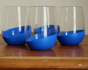 Set of 4 Colorful Handpainted Tumblers