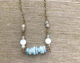 Aquamarine necklace, moonstone necklace, labradorite necklace, gemstone necklace, gemstone choker, moonstone choker, March birthstone, boho