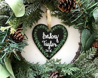 Custom Chalkboard Ornaments Personalized Ornaments Pregnancy Announcement Ornament Mr and Mrs Ornament Baby's First Christmas Ornament Heart