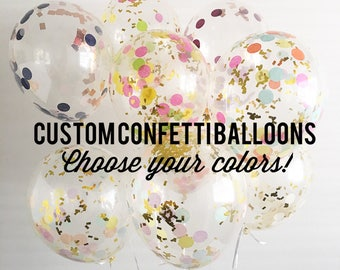 Confetti Balloons Custom Confetti Balloons Choose Your Color Balloons Confetti Balloons Bridal Shower Baby Shower Bachelorette Balloons