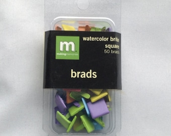 New- For Scrapbooking and Paper Crafting 50 Brads by Making Memories Watercolor Brite Large Squares