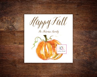 Personalized Fall Calling Cards - Gift Tags - Pumpkin Watercolor Design - Happy Fall