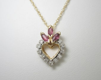 """14K Solid Gold .41 ctw Natural RUBY & DIAMOND Heart PENDANT On 18 """" Chain Necklace"""