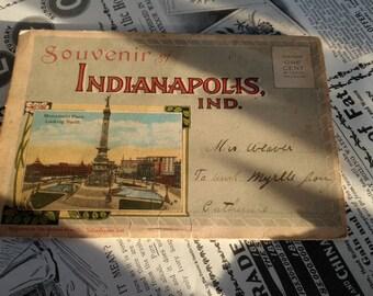 Antique Indianapolis Indiana Souvenir Picture Book - Vintage Indianapolis Speedway, Monument Place, Union Station, Retro Emrichsville Bridge