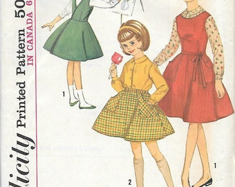 Simplicity 5131 UNCUT 1960s Girls Wrap Around Jumper and Skirt Blouse Vintage Sewing Pattern Size 8 Breast 26 School Uniform