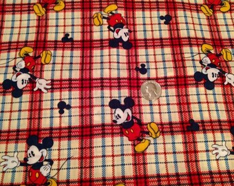 Disney's Mickey Mouse on Plaid Fabric