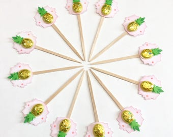 Pineapple Splash Cupcake Toppers. Pineapple party. Yellow green and Pink. Summertime fun. Fruit party decorations. Pineapple party supplies.