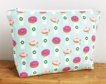 Coffee Lover Gift - Coffee Bag - Donut Bag - Small Makeup Bag - Cute Makeup Bag - Donut Zipper Pouch - Donut Makeup Bag - Gift for Her