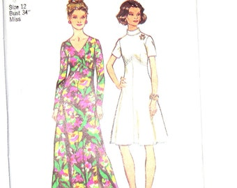 Vintage 1973 Simplicity Pattern 5850 Misses and Womens  Look Slimmer Dress, Size 12