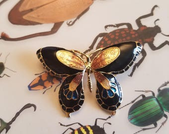 Vintage Cloisonne Butterfly Brooch Costume Jewelry Pin Insects Entomology Entomologist Gift Lepidoptera Butterflies